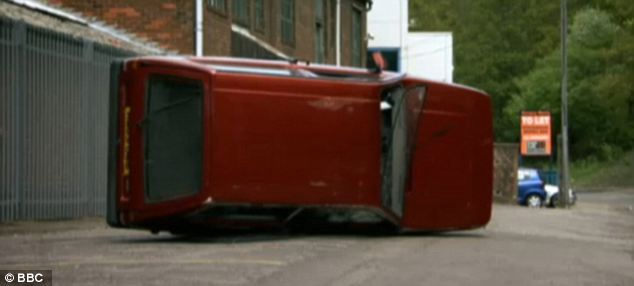 Flipped: Clarkson repeatedly tipped the car over to emphasize the Reliant's instability