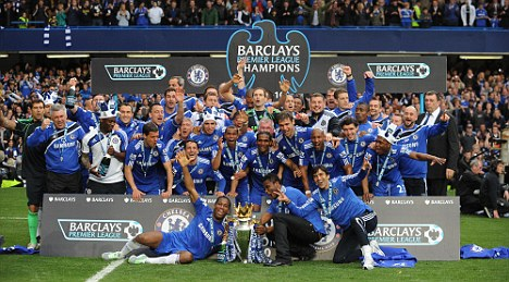 Just champion: Chelsea celebrated after finishing last season top of the pile