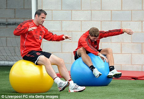Having a ball: Jamie Carrager and Steven Gerrard in training