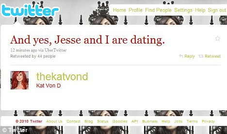 kat von d twitter jesse james dating