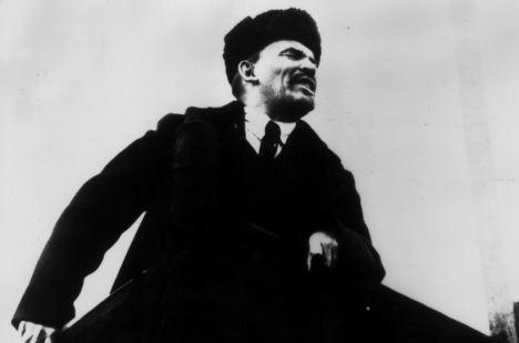 Vladimir Lenin speaking in Red Square, in November 7th, 1918