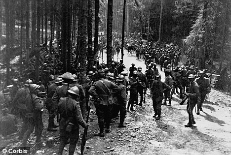 On the march: Italian infantry take a quick break during May 1916 before marching on to meet Austro-Hungarian forces