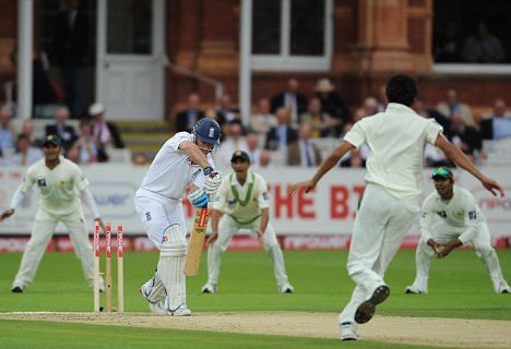 No defence: Strauss is bowled by Asif
