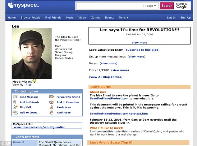 'Vibrant': A grab of Lee's MySpace page today in which he said it was time for revolution - adding that the idea to save the planet was here. He had not updated the page since 2008
