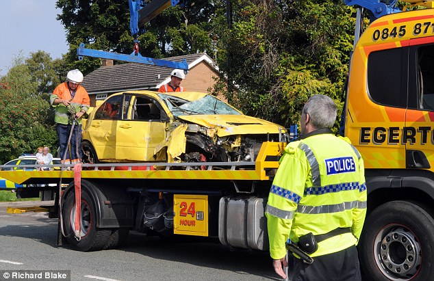 Write off: The car sustained heavy damage to the chassis and had to be hoisted away
