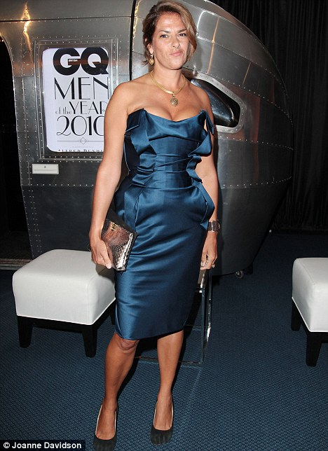 Before the drama: Emin looked pretty in a Vivienne Westwood corset dress