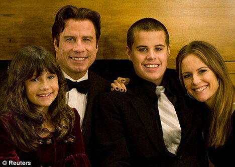 John Travolta, his son Jett and daughter Ella, and his wife, actress Kelly Preston. Jett, who had a history of seizures, was found unconscious at the family home in the Bahamas in January 2009
