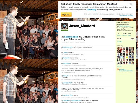 Controversial: Jason Manford branded whoever had edited his comments a 's***house' on his Twitter page
