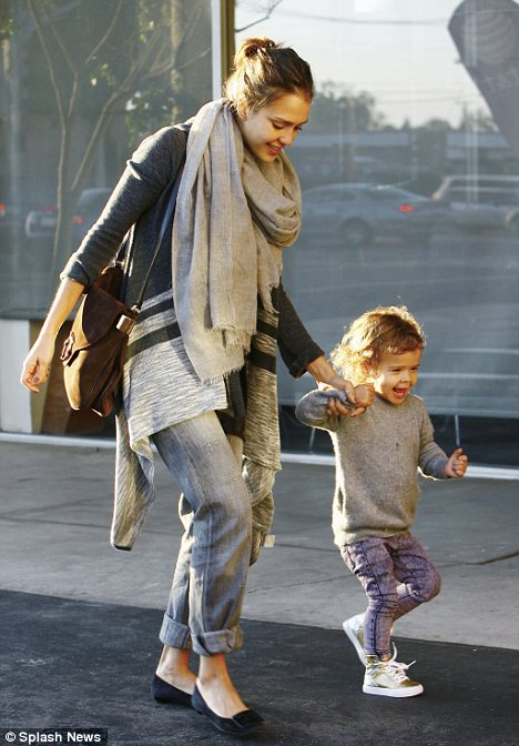 Jessica Alba with her family out for dinner in Beverly Hills, LA, CA.