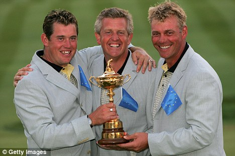 Team work: Westwood's Ryder Cup colleagues Darren Clarke, right, and Colin Montgomerie are keen to get the European No 1 to Newport
