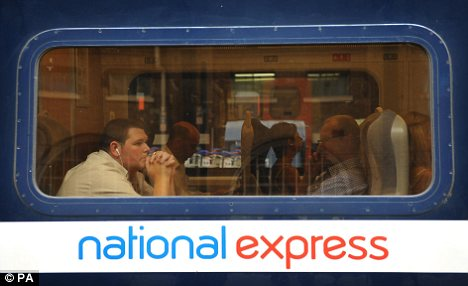 Passengers on board a National Express train