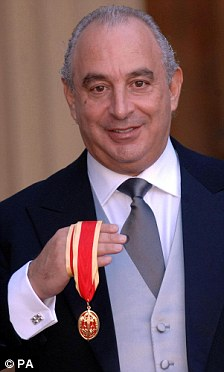 'Inappropriate': Chris Huhne hit out at 'tax avoiders' being honoured and at the appointment of Sir Philip Green, pictured receiving his knighthood in 2006, as Government adviser