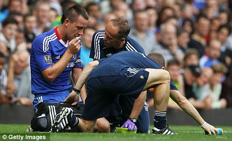 Injured: John Terry's rib injury will open the door for young centre-half Jeffrey Bruma to start in his place