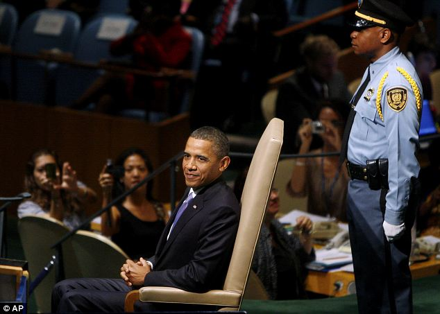 Pleased with his work: U.S. President Barack Obama takes a seat after addressing the UN Assembly