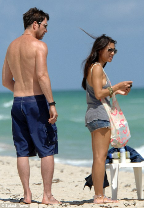 Actor Dylan McDermott from The Practice, and Dark Blue was seen this afternoon with his girlfriend on the beach in Miami.