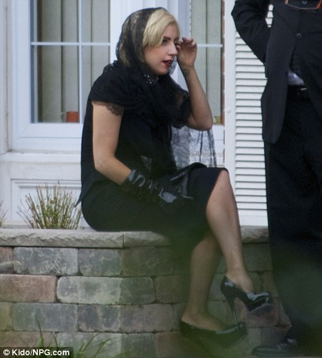Saying goodbye: Lady Gaga attends the wake of her grandfather Joseph Germanotta at Keri Memorial Funeral Home in New Jersey