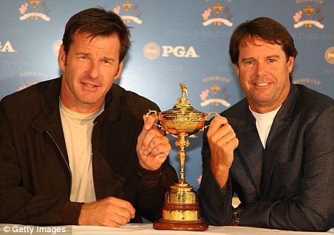 Old rivals: 2008 US captain Paul Azinger (right) has been seen at Celtic Manor, but Sir Nick Faldo has not