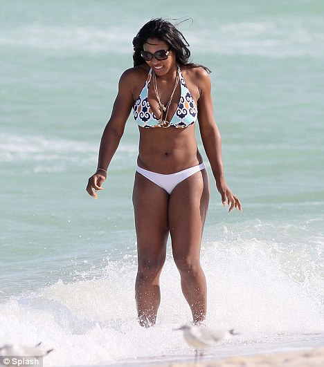 Brr, that's cold: Serena may well have been looking hot, but she appeared to find the sea a little chilly