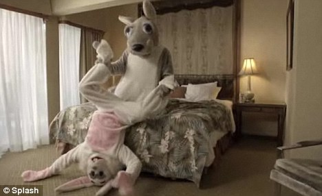 Courteney Cox and David Cox go at it like rabbits - to promote an anti-domestic violence campaign. The couple dressed up in giant bunny outfits to make the hilarious video for the Ocean Park Community Center in Santa Monica, California.