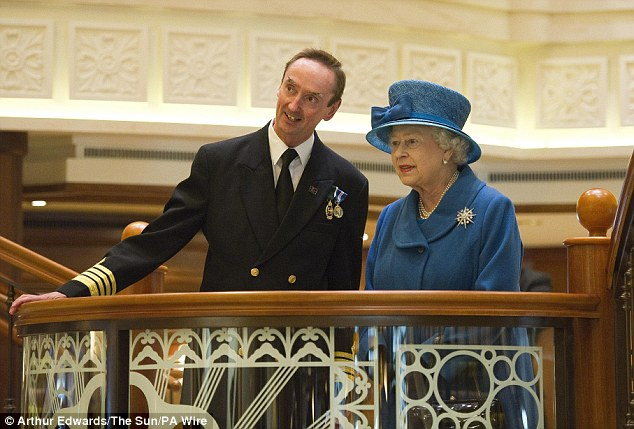 Captain Wells gives the Queen a guided tour around the superliner, where she is greeted by staff