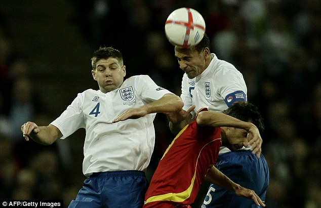Ciongestion charge: Steven Gerrard (left), who lost the captaincy to Rio Ferdinand, was constricted by the lack of space in midfield