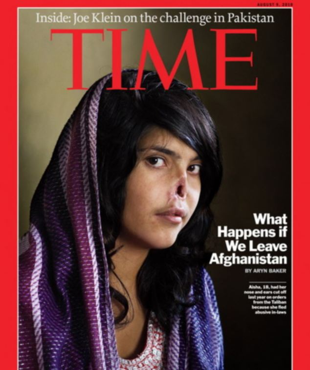 Aiesha's photo was on the front cover of Time Magazine in August 2010