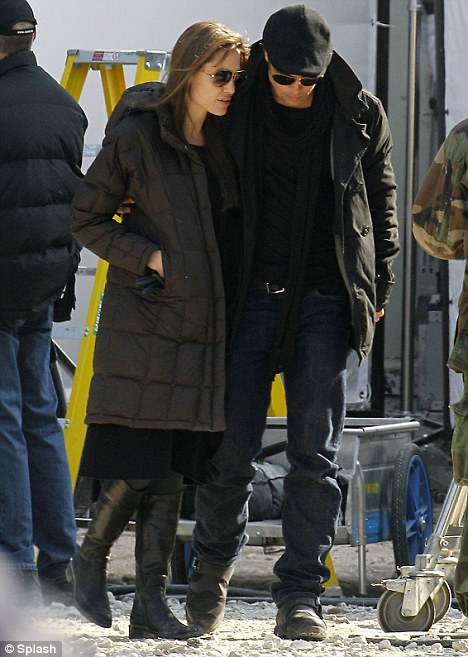 On location: Brad Pitt visited the actress on set earlier this week