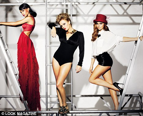 Strike a pose: Kara (right) appears with contestants Michelle Williams (left) and Tina O'Brien in a sultry shoot for Look magazine