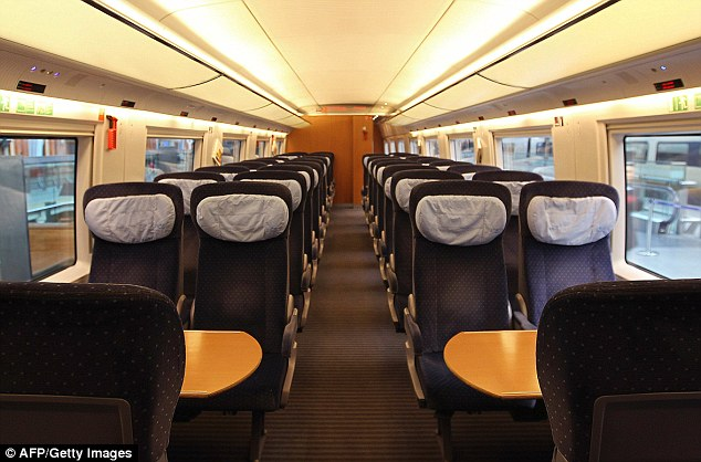 A passenger carriage inside the German train which arrived at St Pancras this morning