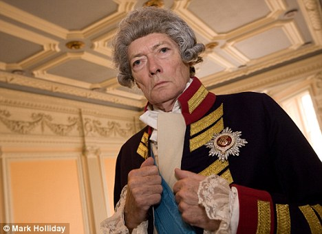 Real life dramas: Simon Ward in costume for his touring production of The Madness of George III