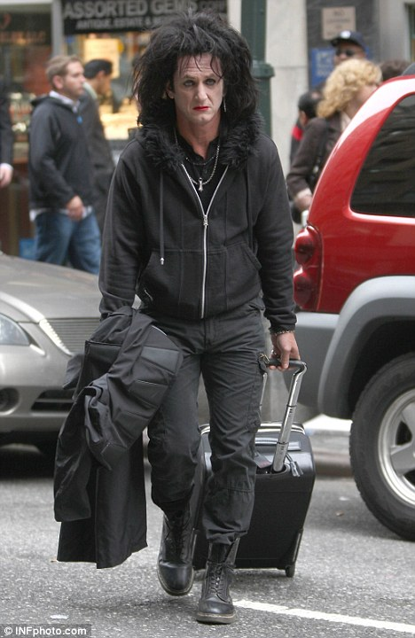Ropey rocker: Sean Penn in full goth make-up and wig for his role as ageing musician in This Must be The Place