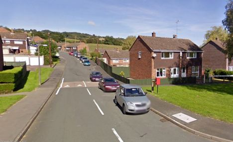 Death scene: The quiet road in Littledean where Mr Cinderby was found dead