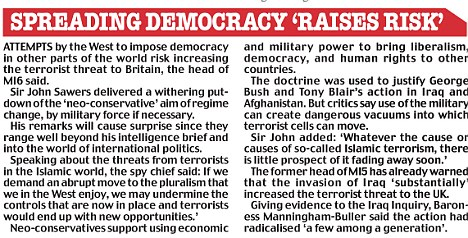 Spreading democracy 'raises risk' graphic