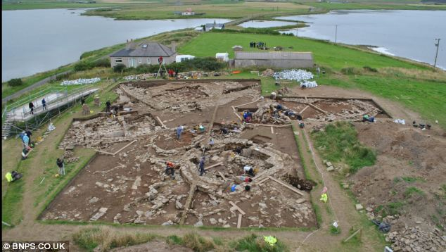Archaeologists on the dig at the ancient village site at Brodgar on the Orkney Islands