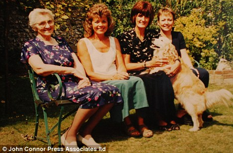 Savings gone: Cecilie Harris and her daughters Gillian, Jennifer and Carolyn in 2000. Cecilie suffered a stroke in December 2003 and despite using almost £250,000 in savings, still doesn't qualify for state funding, although she's in very poor health