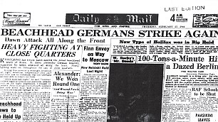 Daily Mail reports fighting at Anzio, the day before Eric Waters died