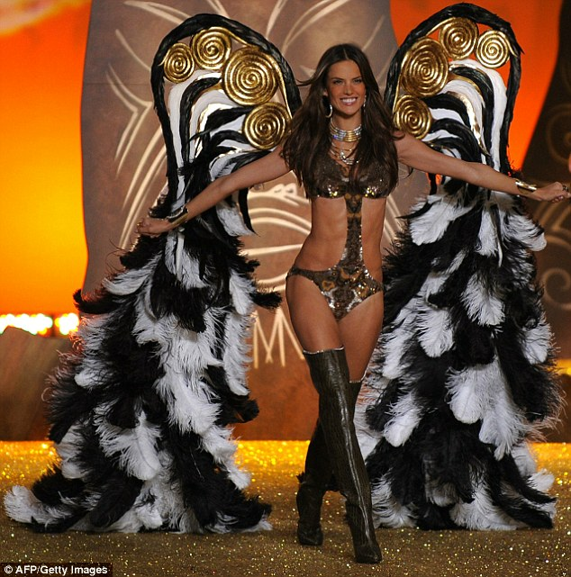Flying high: Victoria's Secret angel Alessandra Ambrosio emerged in an amazing set of wings