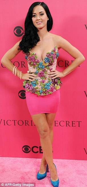 Pink carpet: Katy arrived shortly before Paris and Nicky Hilton