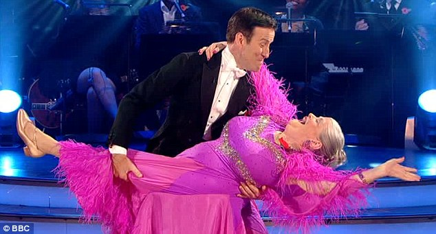 Still funny: Anton grabbed Ann's leg at the end of their foxtrot which the judges still found funny even though they weren't playing it for laughs