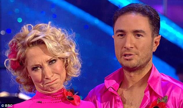 Hometime?: Felicity pulls a face as she realises she might not get to dance in Blackpool's Tower Ballroom on next week's show after failing to wow the judges