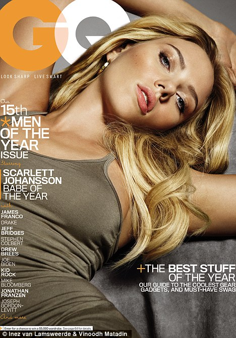 Hot stuff: Scarlett is crowned 'babe of the year' in the December issue of GQ
