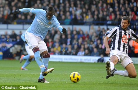 Mario Balotelli scores against West Bromwich but was also sent off in the game