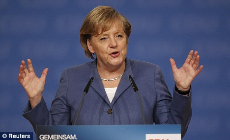 Fears: Germany's Angela Merkel has claimed that if the euro fails, the survival of the EU is at stake