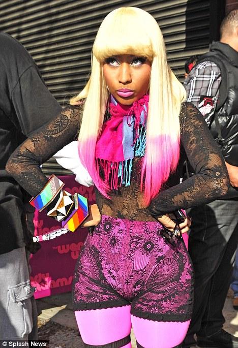 Nicki Minaj seen posing for fans outside Wendy Williams show in New York City.