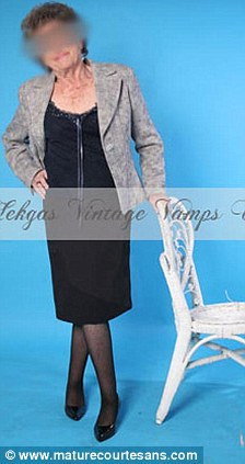 'Grand dame': Sheila poses by a chair and on a stool as she advertises herself on the website