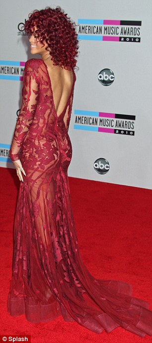 Provocative: Rihanna wowed on the red carpet in a see-through backless gown by Elie Saab