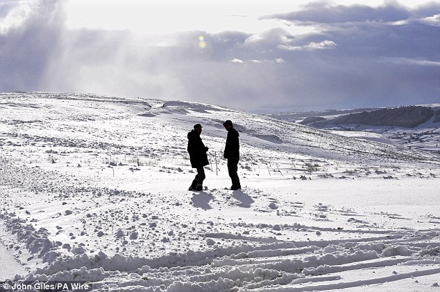 Artic conditions: Deep snow on the moors near Hutton Le Hole in North Yorkshire yesterday