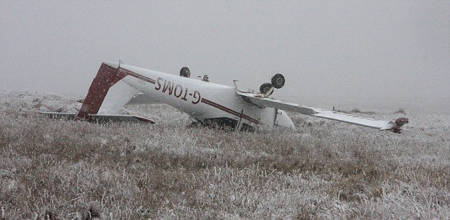 A light aircraft crashed  in the Brecon Beacons, Wales, yesterday, but the pilot survived