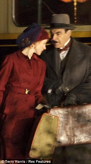 Super sleuth: David as Poirot with Barbara Hershey in a scene from Murder On The Orient Express