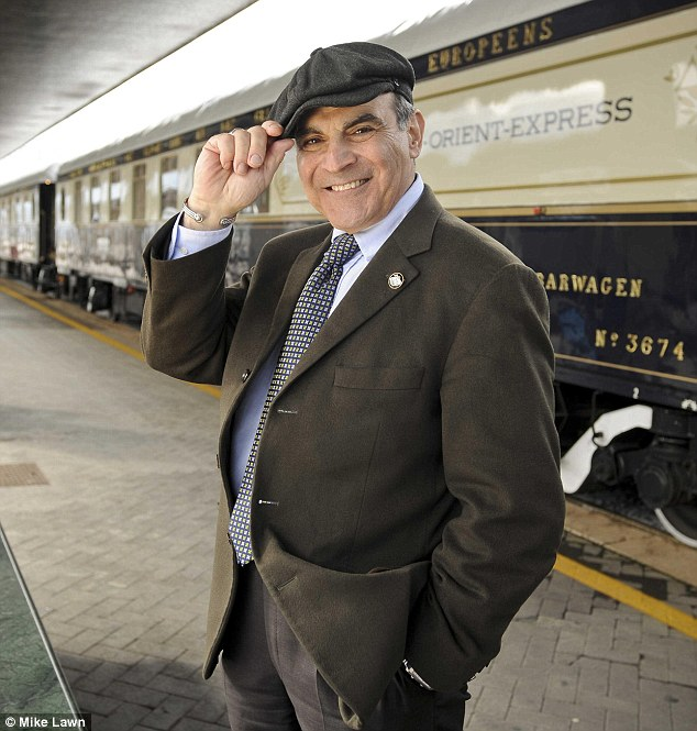 All aboard: David Suchet at Venice Station during his dream journey aboard the Orient Express